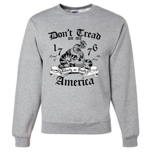 Standard Issue Don't Tread On Me Snake with Skull Light Gray Grunt Life Crewneck Sweater