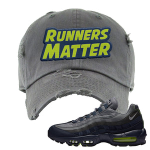 Air Max 95 Midnight Navy / Volt Distressed Dad Hat | Dark Gray, Runners Matter