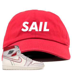 Red and white hat to match the white and red High Retro Jordan 1 shoes