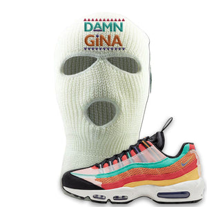 Air Max 95 Black History Month Sneaker White Ski Mask | Winter Mask to match Air Max 95 Black History Month Shoes | Damn Gina