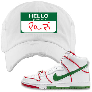 Paul Rodriguez's Nike SB Dunk High Sneaker White Distressed Dad Hat | Distressed Dad Hat to match Paul Rodriguez's Nike SB Dunk High Shoes | Hello My Name Is Papi