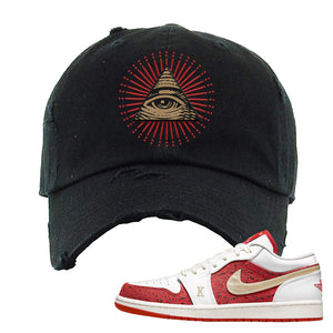 Air Jordan 1 Low Spades Distressed Dad Hat | All Seeing Eye, Black