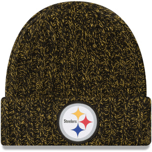 on the front of the womens Pittsburgh Steelers 2018 knit beanie is the Steelers logo