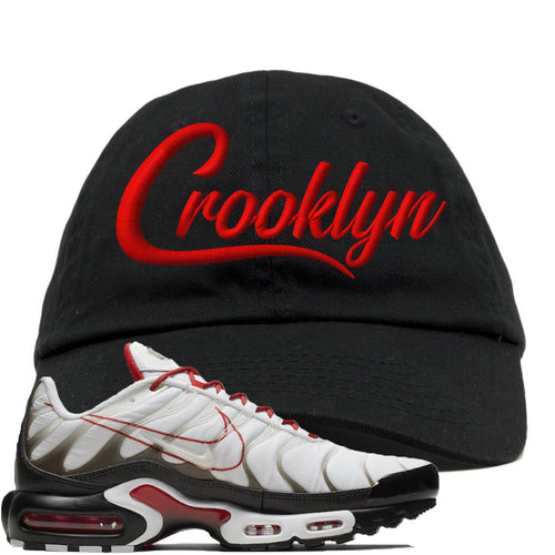 Nike Air Max Plus White University Red Sneaker Match Crooklyn Black Dad Hat
