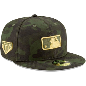 Embroidered on the right side of the MLB Umpire Armed Forces 2019 Memorial Day Fitted Cap is the 5 star gold patch