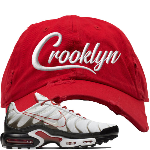 Nike Air Max Plus White University Red Sneaker Match Crooklyn Red Distressed Dad Hat