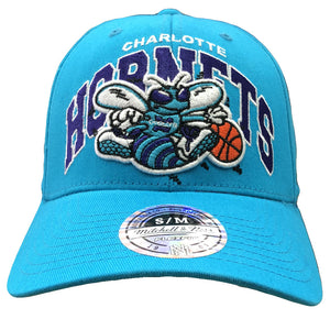 Embroidered on the front of the Charlotte Hornets teal Mitchell and Ness stretch fit cap is the Charlotte Hornets throwback logo in teal, white, and orange