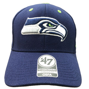 embroidered on the front of the seattle seahawk stretch fit hat is the seattle seahawks logo in gray, green and navy blue
