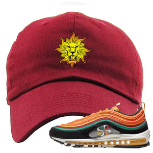 Embroidered on the front of the Air Max 97 Sunburst sneaker matching maroon dad hat is the Vintage Lion Head logo