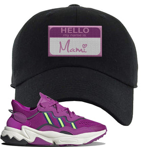Ozweego Vivid Pink Sneaker Black Dad Hat | Hat to match Adidas Ozweego Vivid Pink Shoes | Hello my Name is Mami
