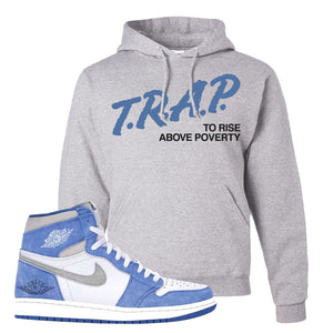 Air Jordan 1 High Hyper Royal Pullover Hoodie | Trap To Rise Above Poverty, Ash