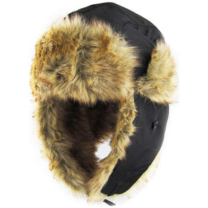 the black faux fur aviator hat has a black polyester exterior and a tan faux fur polyester interior