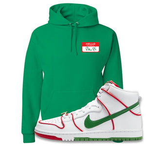 Paul Rodriguez's Nike SB Dunk High Sneaker Kelly Green Pullover Hoodie | Hoodie to match Paul Rodriguez's Nike SB Dunk High Shoes | Hello My Name Is Papi