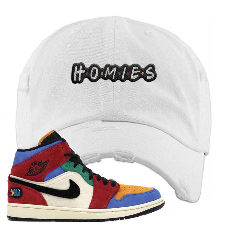 Jordan 1 X Blue The Great Distressed Dad Hat | White, Homies