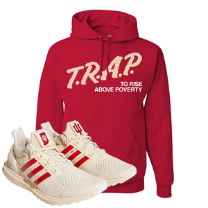 Adidas Ultra Boost 1.0 Indiana Pullover Hoodie | Trap To Rise Above Poverty, Red