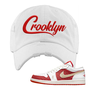 Air Jordan 1 Low Spades Distressed Dad Hat | Crooklyn, White