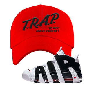 Air More Uptempo White Black Red Dad Hat | Red, Trap To Rise Above Poverty