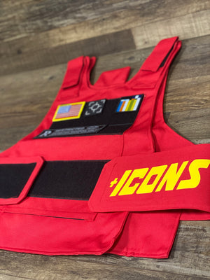 Tactical Utility Vest | Removable Patches | Red | MIlitary Vest | OSFM front view