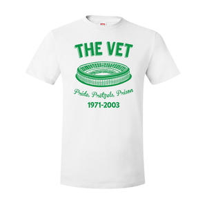 The Vet Pride, Pretzels, Prison T-Shirt | Veterans Stadium White Tee Shirt the front of this t-shirt has the vet stadium