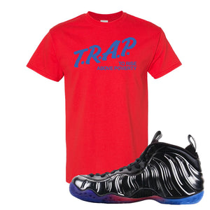 Air Foamposite One QS Gradient Soles T Shirt | Trap To Rise Above Poverty, Red