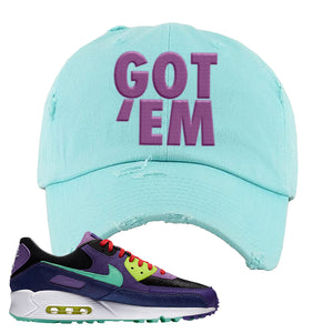 Air Max 90 Cheetah Distressed Dad Hat | Got Em, Diamond Blue