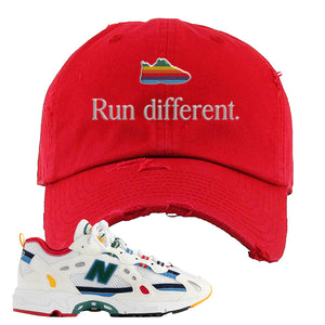 Aime Leon Dore X New Balance 827 Abzorb Multicolor 'White' Distressed Dad Hat | Red, Run Different