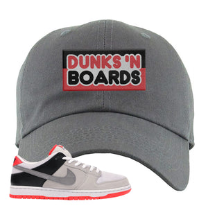 Nike SB Dunk Low Infrared Orange Label Dunks N Boards Dark Gray Dad Hat To Match Sneakers