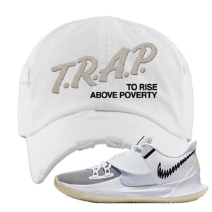 Kyrie Low 3 Distressed Dad Hat | White, Trap To Rise Above Poverty