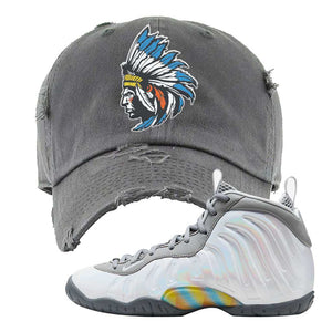Lil Posite One Rainbow Pixel Distressed Dad Hat | Dark Gray, Indian Chief