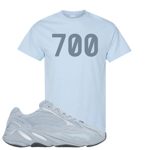 Yeezy Boost 700 V2 Hospital Blue 700 Sneaker Matching Light Blue T-Shirt