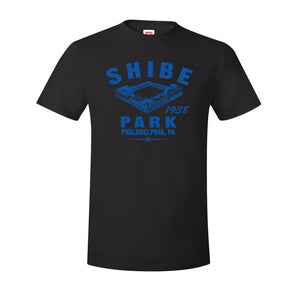 Shibe Park Retro T-Shirt | Shibe Park Vintage Black T-Shirt this shobe park t-shirt has the park in blue on the front