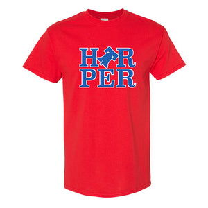 Harper Bell T-Shirt | Bryce Harper Bell Red T-Shirt the front of this shirt has the bryce bell logo