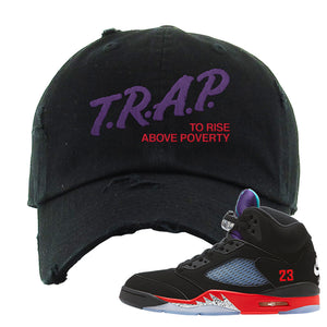 Air Jordan 5 Top 3 Distressed Dad Hat | Black, Trap To Rise Above Poverty