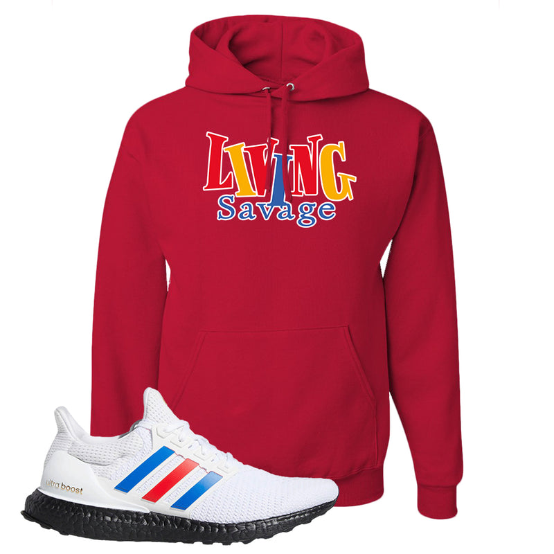 Ultra Boost White Red Blue Hoodie | Red, Living Savage