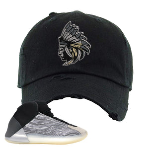 Yeezy Quantum Distressed Dad Hat | Black, Indian Chief