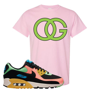 Furry Air Max 90 Bright Neon T Shirt | OG, Light Pink
