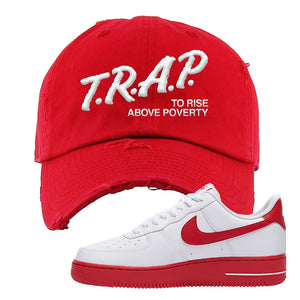 Air Force 1 Low Red Bottoms Distressed Dad Hat | Red, Trap To Rise Above Poverty