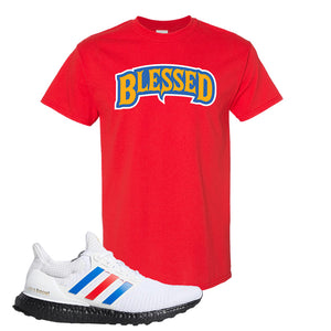Ultra Boost White Red Blue T Shirt | Red, Blessed Arch
