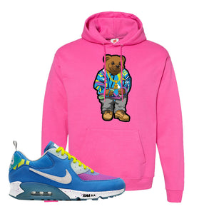 Undefeated x Air Max 90 Pacific Blue Sneaker Wow Pink Pullover Hoodie | Hoodie to match Undefeated x Nike Air Max 90 Pacific Blue Shoes | Sweater Bear