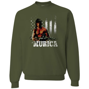 Standard Issue Distressed Rambo with American Flag Military Green Grunt Life Crewneck Sweater