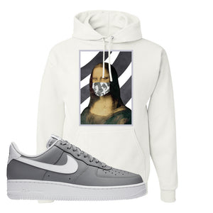 Air Force 1 Low Wolf Grey White Hoodie | White, Mona Lisa Mask