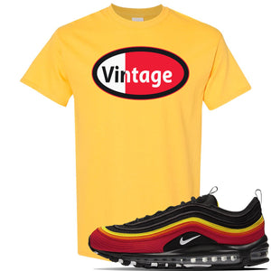 Air Max 97 Black/Chile Red/Magma Orange/White Sneaker Daisy T Shirt | Tees to match Nike Air Max 97 Black/Chile Red/Magma Orange/White Shoes | Vintage Oval