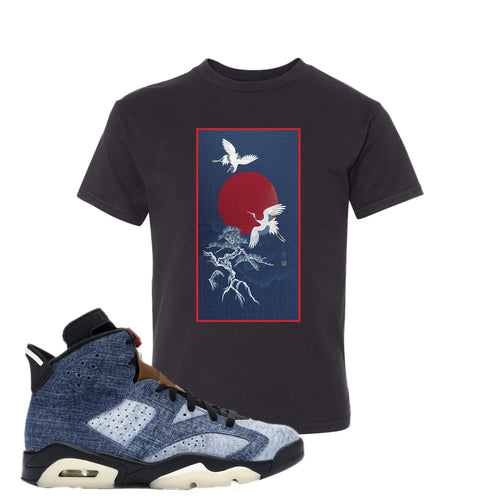 Air Jordan 6 Washed Denim Crane Sun Black Sneaker Hook Up Kid's T-Shirt