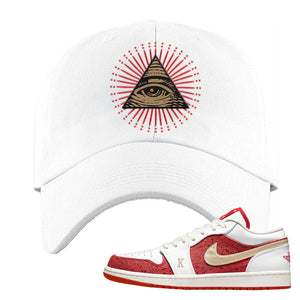 Air Jordan 1 Low Spades Dad Hat | All Seeing Eye, White
