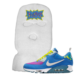 Undefeated x Air Max 90 Pacific Blue Sneaker White Ski Mask | Winter Mask to match Undefeated x Nike Air Max 90 Pacific Blue Shoes | Hoodrats
