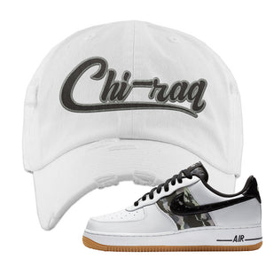 Air Force 1 Low Camo Distressed Dad Hat | Chiraq, White