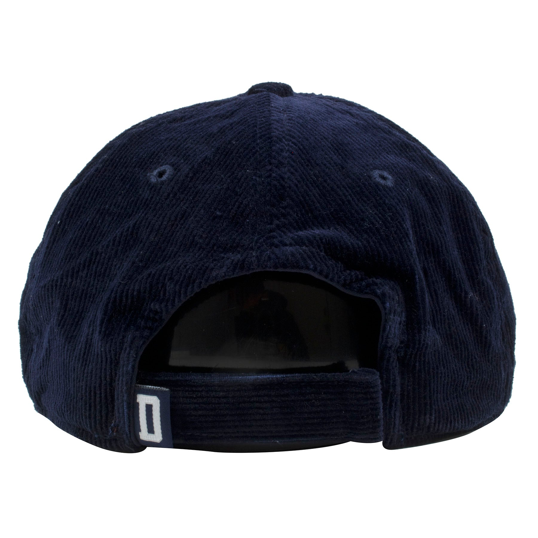 967f9027e43ff ... the back of the dallas cowboys navy blue corduroy dad hat has navy blue  adjustable strap