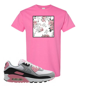 WMNS Air Max 90 Rose Pink Flower Box Azalea T-Shirt To Match Sneakers