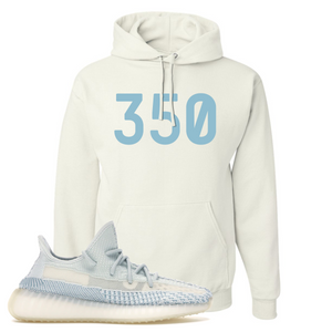 Yeezy Boost 350 V2 Cloud White Non-Reflective 350 Sneaker Matching White Pullover Hoodie
