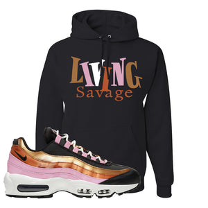 Air Max 95 WMNS Copper and Gold Pullover Hoodie | Living Savage, Black